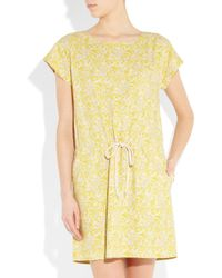 Vanessa Bruno Athé | Yellow Printed Bourette Silk Dress | Lyst