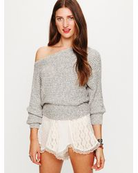 Free People - Gray Horizontal Rib Cropped Marled Sweater - Lyst