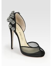 Max Kibardin | Black Bejeweled Suede and Mesh Dorsay Pumps | Lyst