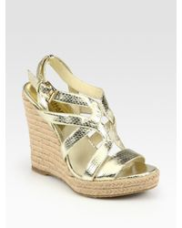 MICHAEL Michael Kors | Palm Beach Metallic Snake-print Leather Wedge Sandals | Lyst