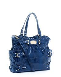 Michael Kors | Blue Exclusive Large North/south Python-embossed Gansevoort Tote, Indigo | Lyst