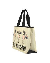 Moschino - Natural Cow Large Canvas Tote Bag - Lyst