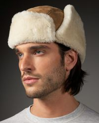 UGG - Brown Shearling Trapper Hat for Men - Lyst