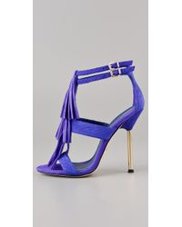 B Brian Atwood | Purple Luciana Snake-print Leather and Suede Fringe Sandals | Lyst