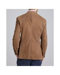 Brunello Cucinelli | Brown Brushed Leather 3-button Blazer for Men | Lyst