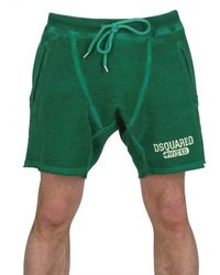 DSquared² | Green Cracked Print Cotton Fleece Sweat Shorts for Men | Lyst
