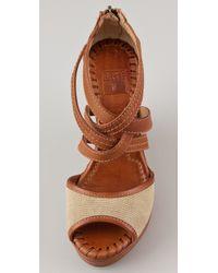 Frye | Brown Corrina Wedge Sandals | Lyst