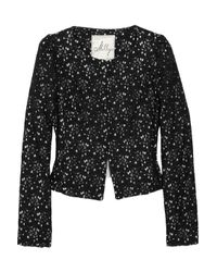 MILLY | Black Dorsay Floral Lace Jacket | Lyst