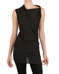 Rick Owens | Black Heavy Viscose Cotton Jersey Top | Lyst