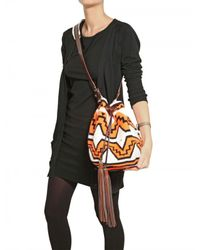 Sara Battaglia | Orange Handstitched Leather Tassel Bucket Shoul | Lyst