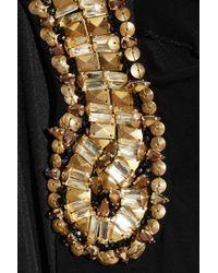 Alexander McQueen - Black Embellished Draped Jersey Dress - Lyst