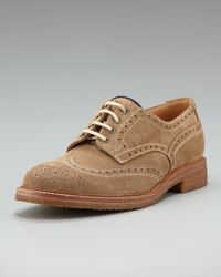 Brunello Cucinelli | Brown Crepe-sole Suede Wing-tip for Men | Lyst