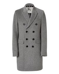 Burberry | Gray Pale Grey Mélange Double Breasted Coat for Men | Lyst