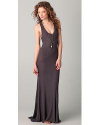 Enza Costa | Gray Silk Rib Twist Dress | Lyst