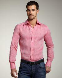 Etro | Pink Linen Sport Shirt for Men | Lyst