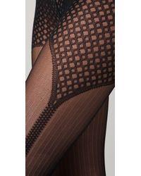 Falke - Black Galloon Pinstripe Tights - Lyst