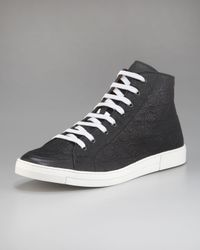 Ferragamo | Black Ok Embossed Hi-top Sneaker for Men | Lyst