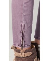 Free People - Purple Milenium Cropped Colored Skinny Jeans - Lyst