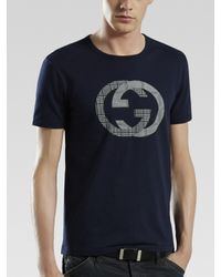 Gucci | White G-check Print Tee for Men | Lyst