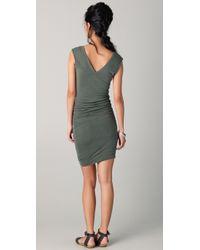James Perse - Green Cap Sleeve Deep V Dress - Lyst