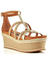 Juicy Couture | Natural Leather Strappy Wedge Sandal | Lyst