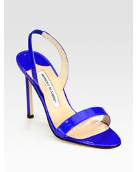 Manolo Blahnik | Blue Patent Leather Slingback Sandals | Lyst