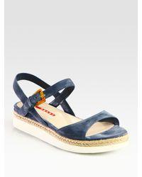 Prada | Blue Suede and Micro-foam Flat Sandals | Lyst