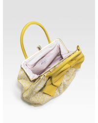 RED Valentino | Metallic Daisy-print Canvas and Calfskin Bow Satchel | Lyst