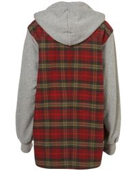 TOPSHOP - Red 90s Check Hooded Jacket - Lyst