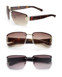 Gucci | Black Rimless Rectangle Sunglasses for Men | Lyst