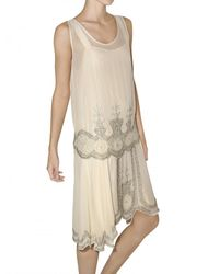 Mes Demoiselles - Natural Embroidered Two Piece Georgette Dress - Lyst