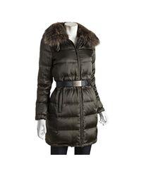 Prada | Military Green Down Filled Three-quarter Coat with Fur Trim | Lyst