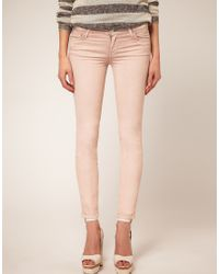 7 For All Mankind | Pink The Skinny Pastel Wash Jean | Lyst