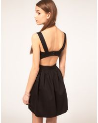 ASOS Collection | Black Asos Skater Dress with Cut Out Back | Lyst