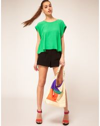 ASOS Collection | Green Top With Roll Sleeve And Button Back | Lyst