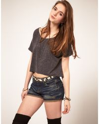 ASOS Collection | Gray Asos Textured Crop T-shirt | Lyst