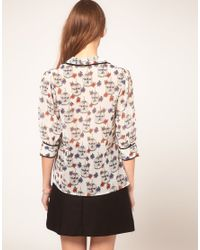 ASOS Collection | Multicolor Asos Blouse With Birdcage Print | Lyst