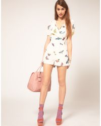 ASOS Collection - Multicolor Asos Butterfly Print Playsuit - Lyst