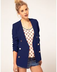 ASOS Collection - Blue Asos Double Breasted Blazer with Gold Buttons - Lyst