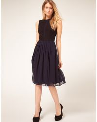 ASOS Collection - Blue Asos Petite Midi Dress with Chiffon Skirt and Zip Back - Lyst
