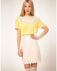 ASOS Collection | Yellow Asos Blouse with Pleating and Lace Yoke | Lyst