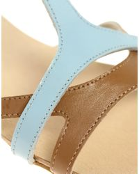 ASOS - Blue Asos Fabio Leather Flat Sandals with Colour Block - Lyst