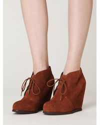 Free People | Brown Lantana Wedge Ankle Boot | Lyst