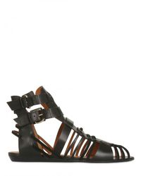 Givenchy | Black 10mm Leather Buckled Sandal Flats | Lyst