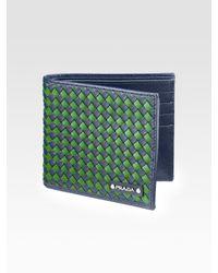 Prada   Blue Intreccio Bi-fold Wallet for Men   Lyst
