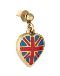 Cath Kidston - Metallic Antique Brass Tiny Union Jack Drop Earrings - Lyst
