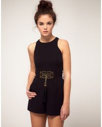 River Island | Black Playsuit With Belt | Lyst