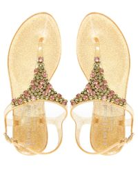 River Island - Metallic Glitter and Diamante Jelly Sandals - Lyst