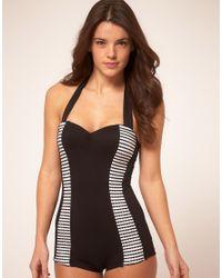 Seafolly | Black Wavey Stripe Boy Leg Swim Suit | Lyst