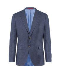 GANT | Blue Herringbone Linen Blazer for Men | Lyst
